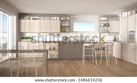 Penthouse minimalist kitchen interior design, lounge with sofa and carpet, dining table, island with stools, parquet. Modern contemporary white and beige architecture concept idea, 3d illustration