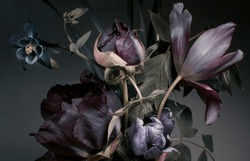 Peonies and tulips on a dark background,  bouquet, dark floral wallpaper.