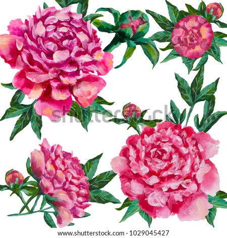 peonies flowers design oil painting. pink peony, roses with green leaves floral flower. Hand drawn creative flowers painting. For invitation card, cover book, notebook. Artwork illustration #1029045427