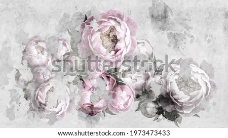 Peonies flowers painted on a concrete grunge wall. Photo wallpaper, wallpaper, mural, card, postcard design in the modern, loft style.