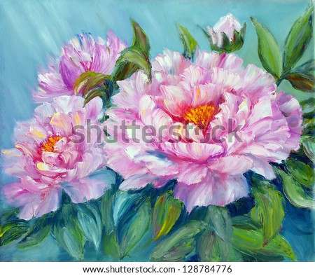 Peonies, oil painting on canvas - stock photo