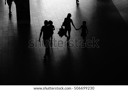 people activity standing and walking in the lobby, black and white #506699230