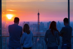 People admiring Paris and Eiffel Tower from Montparnasse Tower a