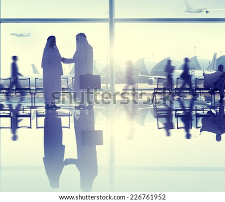 People Airport Business Travel Communication Agreement Concept