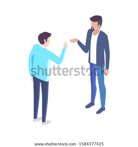 People analyst and manager have discussion cartoon banner raster set. Men in classic suits discussing issues gesturing 3d models side view under angle