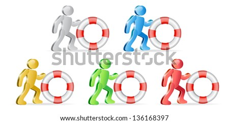 People and life preserver. Theme support. Group of people in different colors. Raster version, vector file also included in the portfolio.