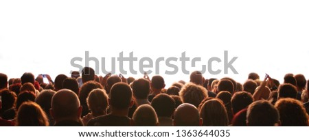 people and the customizable white background during a live event Foto d'archivio ©