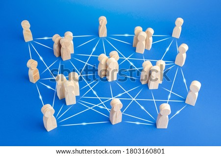Photo of  People are connected by many lines. Unconventional company structure, distribution responsibilities between employees, direct communication without bureaucracy. Meritocracy and autonomy.