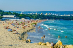 People are enjoying summer on a beach in Varna, Bulgaria