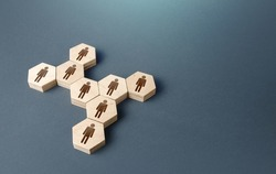People are united in a group. Consolidation. Joining forces to achieve a common goal. Hiring employees, recruiting staff. Human resources. Grouping, self organization. Social processes.