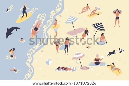 People at beach or seashore relaxing and performing leisure outdoor activities - sunbathing, reading books, talking, walking, surfing, swimming in sea or ocean. Flat cartoon illustration.
