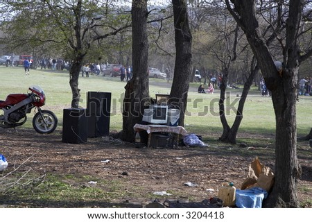people at forest picnic in spring/camping