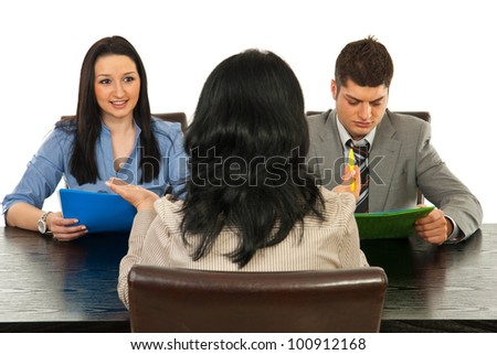 People at interview having conversation isolated on white background