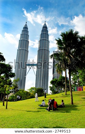 People at outdoor park nearby Kuala Lumpur Twins Tower