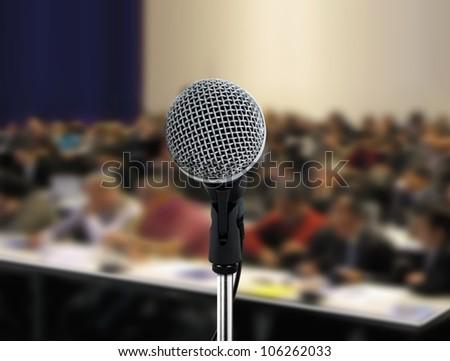 People attending seminar - stock photo