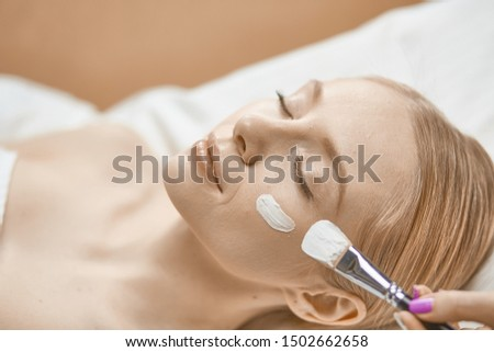 people, beauty, cosmetology and treatment concept - close up of