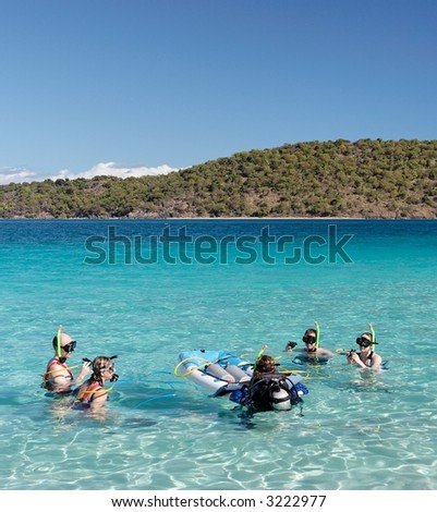 People before snorkling in blue caribbean water