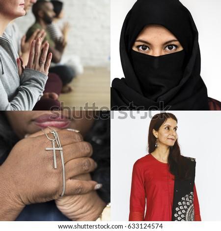 People Believe Religion Faith Collage