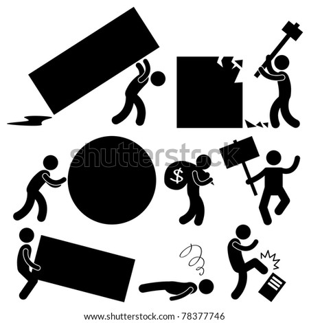 People Business Work Tough Burden Anger Difficult  Workplace Hurdle Obstacle Roadblock Frustration Concept Icon Symbol Sign - stock photo