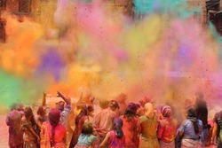 People celebrating the Holi festival of colors in Nepal or India