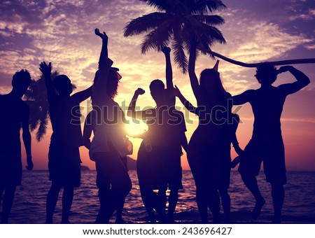 People Celebration Beach Party Summer Holiday Vacation Concept #243696427