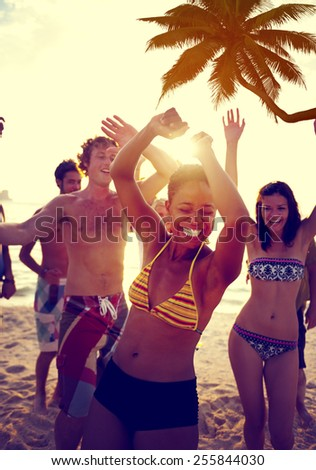 People Celebration Beach Party Summer Holiday Vacation Concept #255844030