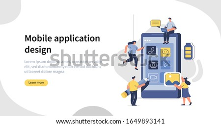 People Character  Developing Mobile App. Developers Team Building New Application for Smartphone. Programmers and Designers Working. Mobile Development Process. Flat Cartoon Illustration.