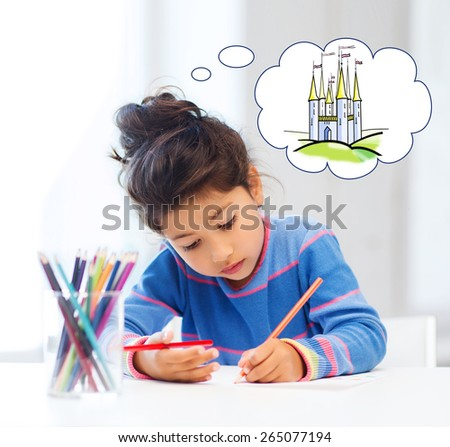 people, childhood, creativity and imagination concept - happy little girl drawing with crayons and dreaming about fairytale castle at home or art school