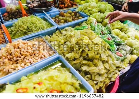 People choose to buy a lot of vegetarian food in vegetarian Festival. Yaowarat or bangkok china town , Thailand #1196657482