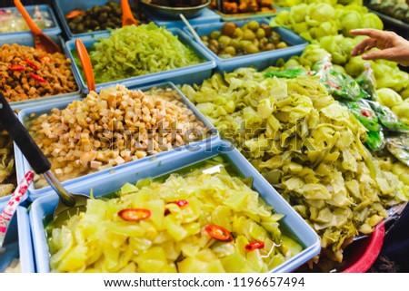 People choose to buy a lot of vegetarian food in vegetarian Festival. Yaowarat or bangkok china town , Thailand #1196657494