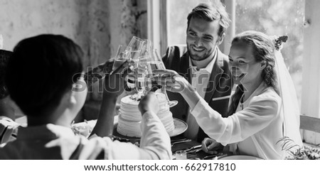 People Cling Wine Glasses on Wedding Reception with Bride and Groom #662917810