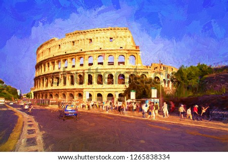 People come to visit the ancient roman colosseum in the summer morning. Colosseum is one the main tourists attractions in Rome, Italy. Abstract digital oil painting.