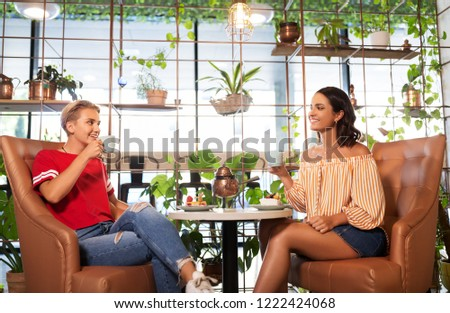 people, communication and friendship concept - female friends drinking tea and talking at cafe