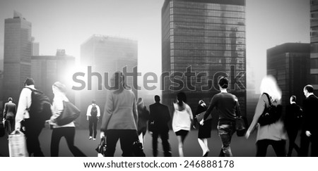 People Commuter Walking Rush Hour Cityscape Concept #246888178