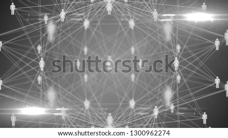 People connected via social media global wireless Internet network connection - Illustration Render