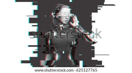 Photo of  people, cyberspace, future technology and progress - woman cyborg with 3d glasses and microchip implant or sensors over virtual glitch effect