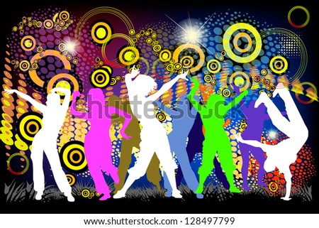 People dancing on a colorful background. Raster