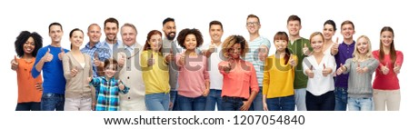 people, diversity and international concept - group of men, women and kid showing thumbs up over white background #1207054840