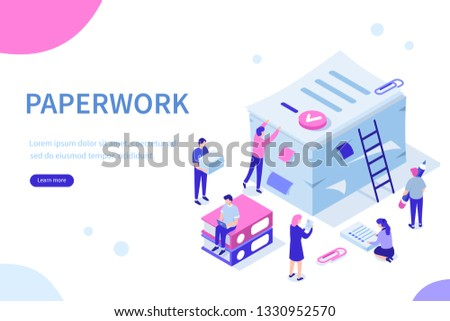 People do paperwork concept design. Can use for web banner, infographics, hero images. Flat isometric illustration isolated on white background. #1330952570