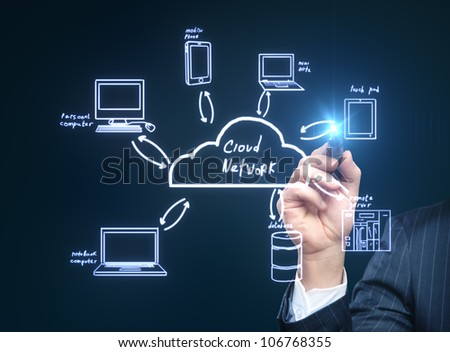 people drawing  cloud network server - stock photo