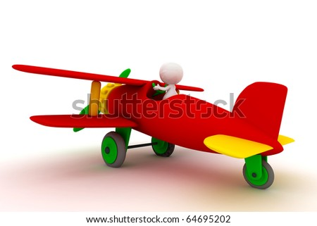 people Driving toy airplane, 3D rendering