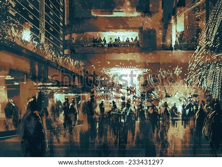 people enjoy at shopping street digital painting vintage style