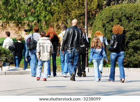 People enjoy in walk at the park