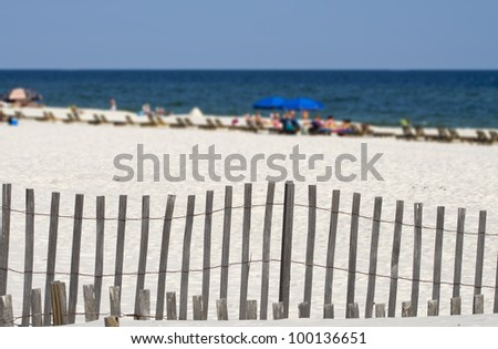 People enjoying a day at the beach on the Alabama gulf coast.