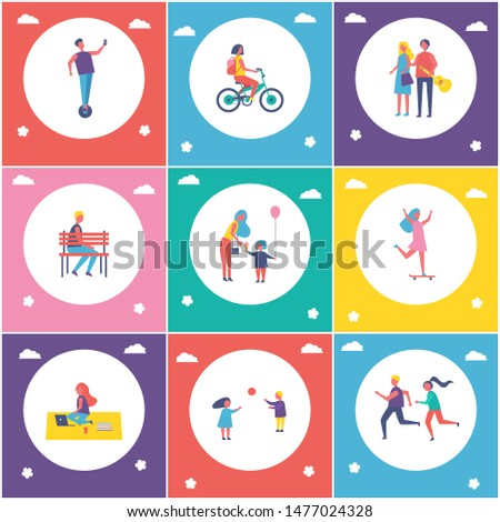 People entertaining in park cartoon isolated raster banner set. Children running and playing games, riding bike and on skateboard, having fun outdoor