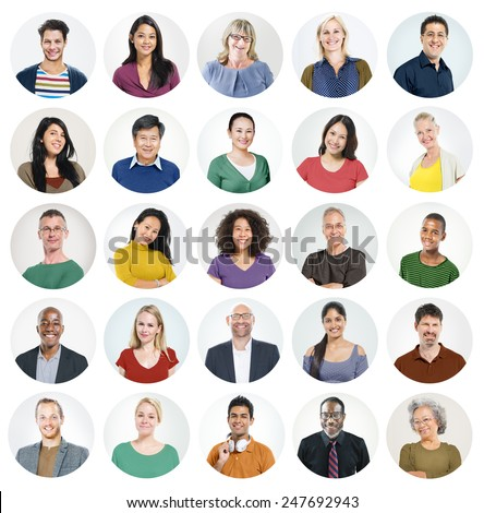 People Faces Portrait Multiethnic Cheerful Group Concept #247692943