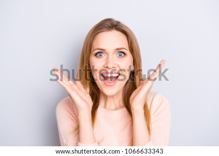 People feelings person good news secret rumor shopping gossip joy fun enjoy concept. Close up portrait of cheerful cute joyful surprised funky girl with long hairdo isolated on gray background #1066633343