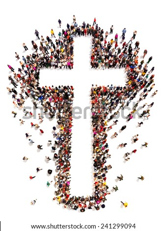 People finding Christianity, religion and faith. Large crowd of people walking to and forming the shape of a cross on a white background with room for text or copy space in the cross.