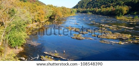People fishing at Potomac River in Harpers Ferry, West Virginia