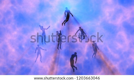 People floating, rising into space , heavens. Astral plane.Silhouette. 3d rendering